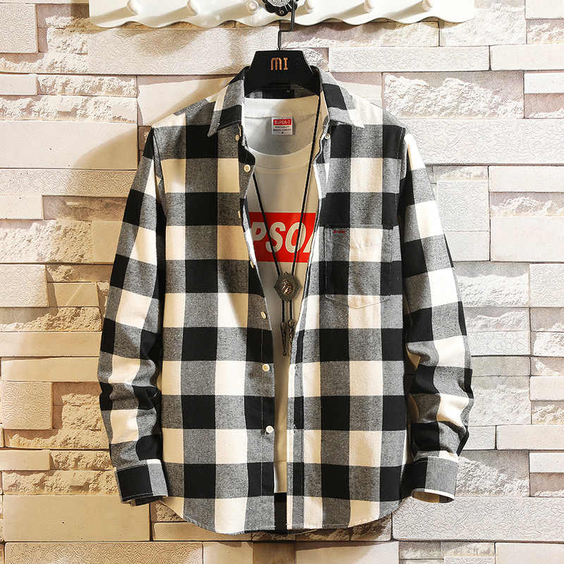 Japanese Retro Black And White Plaid Shirt Jacket Men's Shirt Long Sleeve Trend Relaxed Autumn Hong Kong Style Leisure
