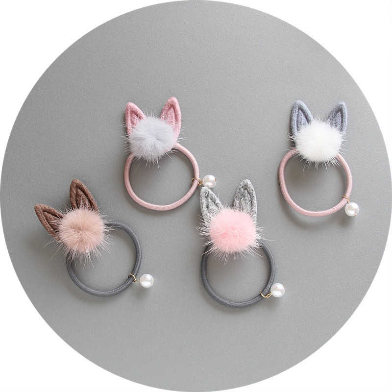 Sale 1pc Rabbit Ears Bow Children Hair Ropes Elastic Rubber Hair Band Girls Accessories Baby Headwear Kids Hair Clips