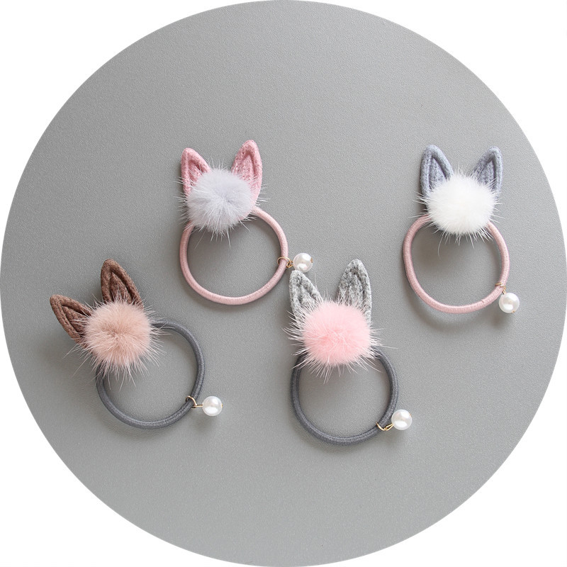 Sale 1pc Rabbit Ears Bow Children Hair Ropes Elastic Rubber Hair Band Girls Accessories Baby Headwear Kids Hair Clips