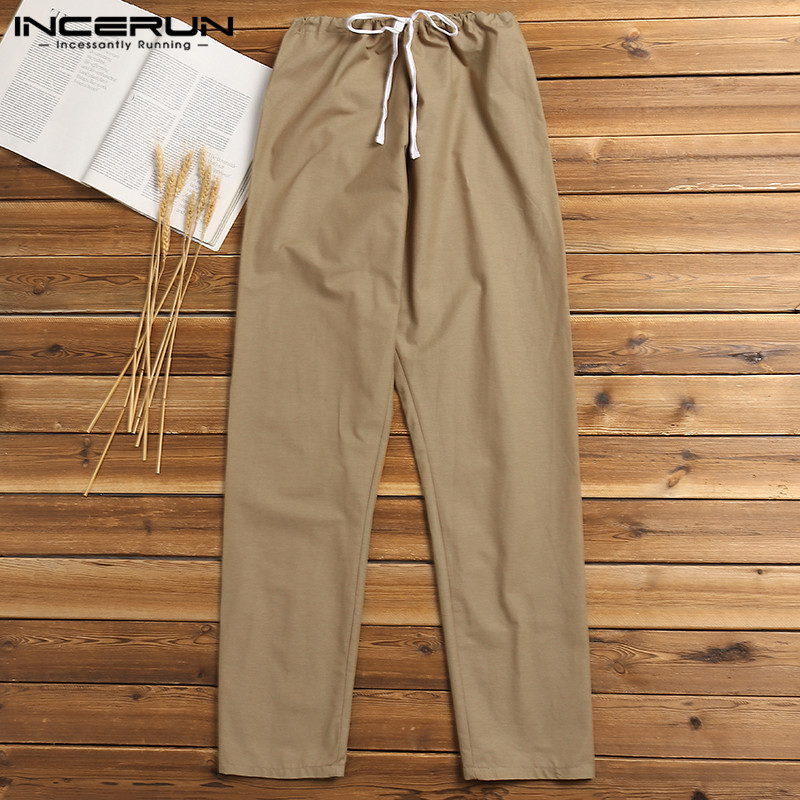 INCERUN Fashion Men Casual Pants Joggers Cotton Linen Solid Nepal Style Trousers Men Drawstring Workout Male Sweatpants Pantalon