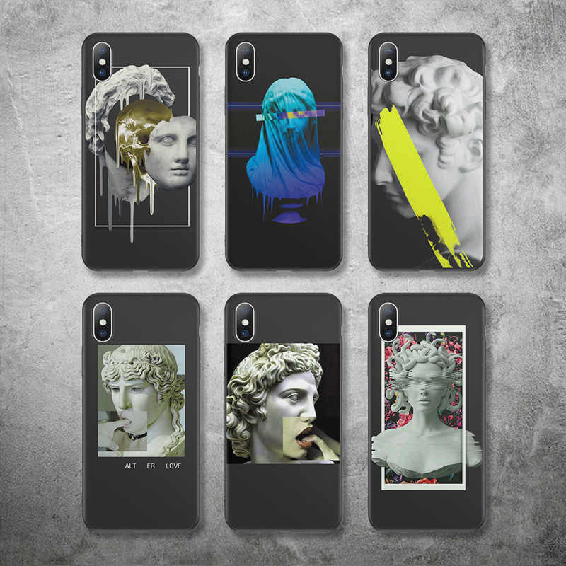 Ottwn Art Abstract Statue Case For iPhone 7 8 6 6s Plus 5 5s SE X XR XS Max Silicone Soft Phone Cases TPU Back Cover Coque Capa