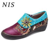 NIS Big Size Bohemian Style Shoes Women Flats Socofy Leather Vintage Shoes Woman Loafers Spring Summer Ladies Flats Woman 2019
