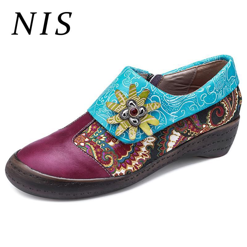 NIS grande taille Style bohème chaussures femmes appartements Socofy cuir Vintage chaussures femme mocassins printemps été chaussures plates pour femme 2019