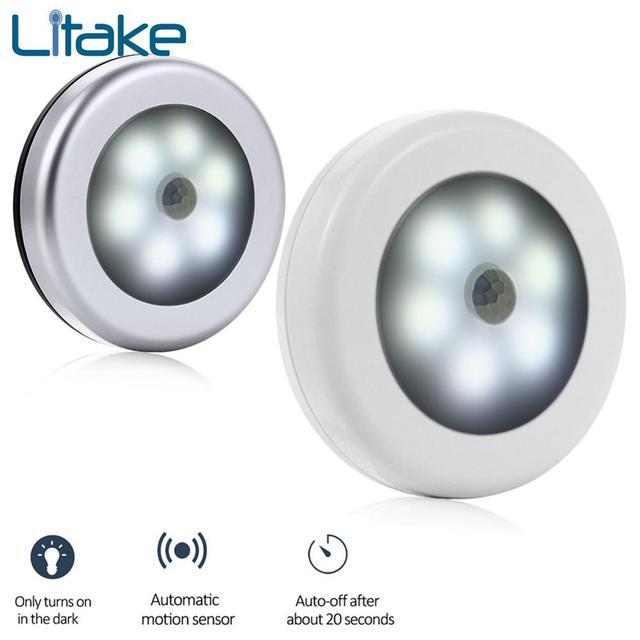 6LED Sensor Night Light Battery Powered PIR Infrared Motion Sensor Lamp Magnetic Infrared Wall Lamp Cabinet Stairs Light White