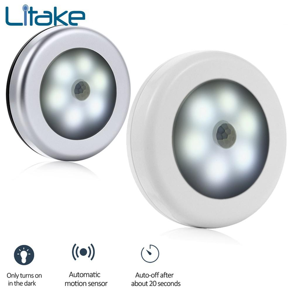 Litake Sensor Night Light Battery Powered PIR Infrared Motion Sensor Lamp Magnetic Infrared Wall Lamp Cabinet Stairs Light White