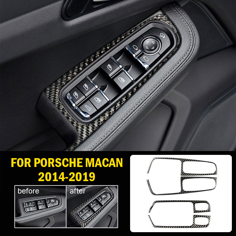 Carbon fiber Interior Window Switch Panel Cover Tirm For Porsche Macan 2014 2019 Switches Relays Interior