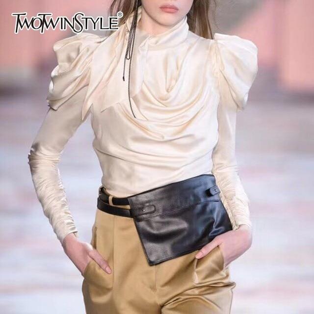 TWOTWINSTYLE סאטן נשים של חולצות חולצה נשים פאף ארוך שרוול תחרה עד גדול גדלים צמרות נשי סתיו אופנה בגדי 2018 חדש