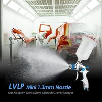 Alloet LVLP Mini 1.3mm Nozzle Air Spray Guns 600mL Airbrush Gravity Sprayer Car Furniture Painting Spraying Tool aluminum alloy