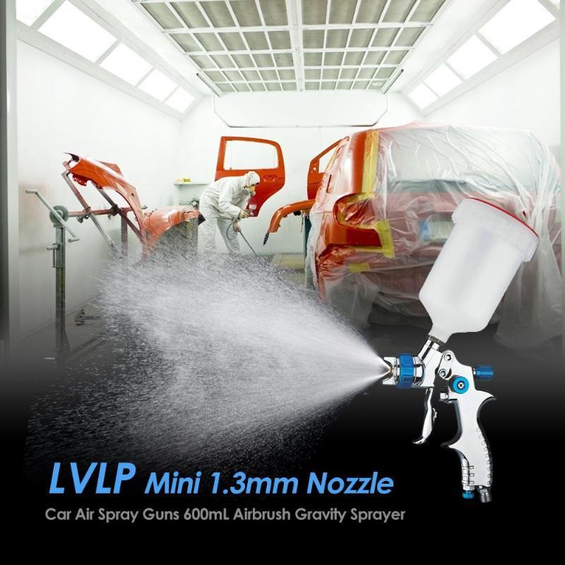 Alloet lvlp mini 1.3mm bico pistola de ar armas 600 ml aerógrafo gravidade pulverizador carro mobiliário pintura pulverização ferramenta liga alumínio
