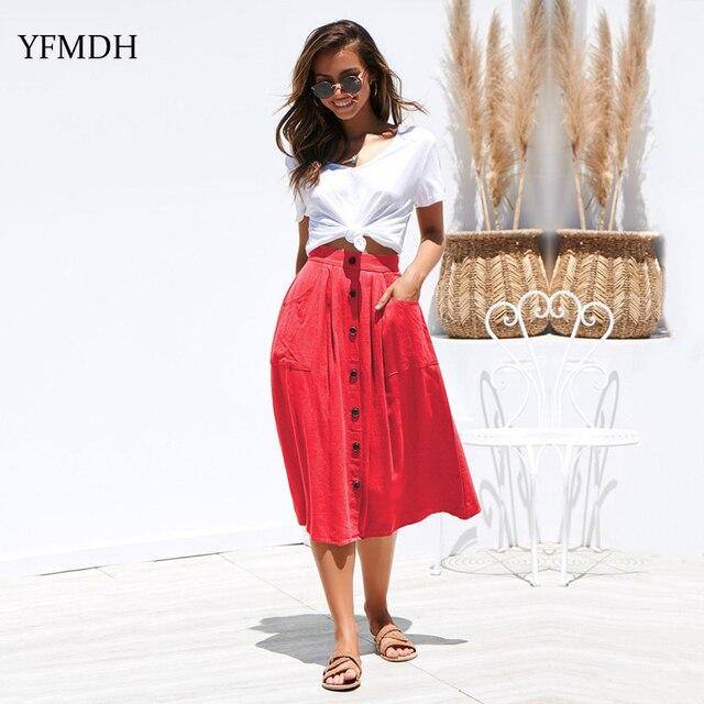 1fa9c1cf220b Color sólido elegante larga de punto faldas mujeres 2019 Primavera Verano  moda Sexy cintura alta Mujer playa botón Casual Midi falda
