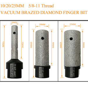 Image 3 - DT DIATOOL 1pc Dia 10/20/25mm Vacuum Brazed Diamond Finger Bits 5/8 11 or M14 Thread Milling Bits for Porcelain Marble Granite
