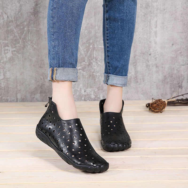 VALLU 2019 Yaz Kadın Ayakkabı Daireler Boots Cut Out Hakiki Deri Geri Zip Özel Tasarım Kadın yarım çizmeler Artı Boyutu