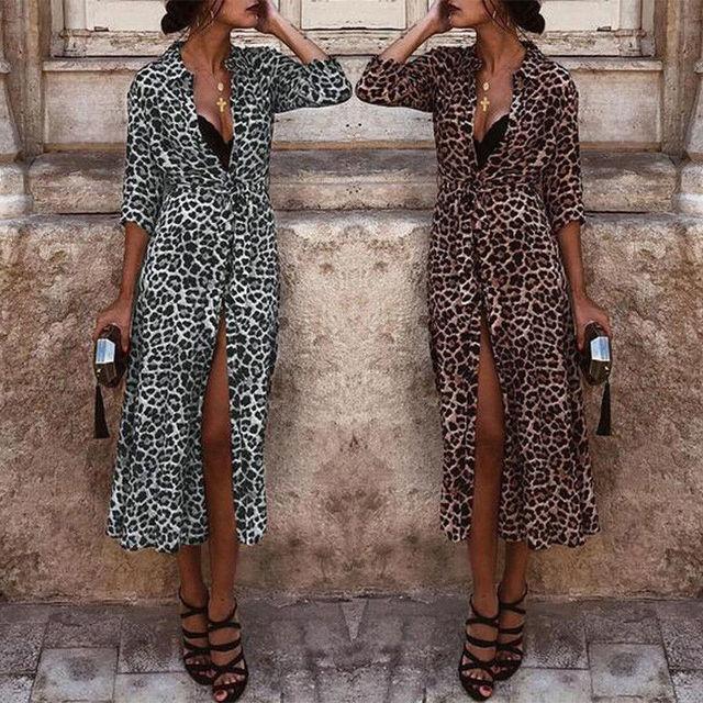 Nuevo Bikini con estampado de leopardo para cubrir el Kimono de mujer Boho de manga larga cárdigan largo ropa de playa Casual suelto Vestido de playa ropa de sol