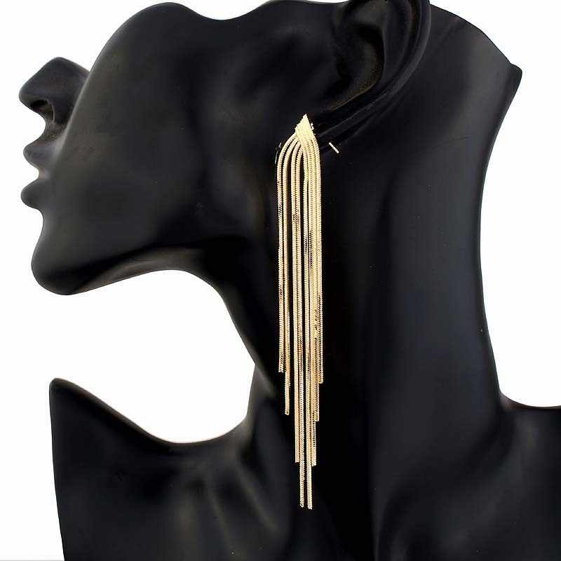 New Retro Gold Silver Color Long Hanging Earrings For Women Metal Tassel Ethnic Drop Earrings Hip Hop Street Jewelry Accessories