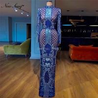Иллюзия Королевского синего цвета вечерние платье 2019 Couture Саудовская Арабский африканских женские вечерние платья Robe De Soiree мусульманин Дуб