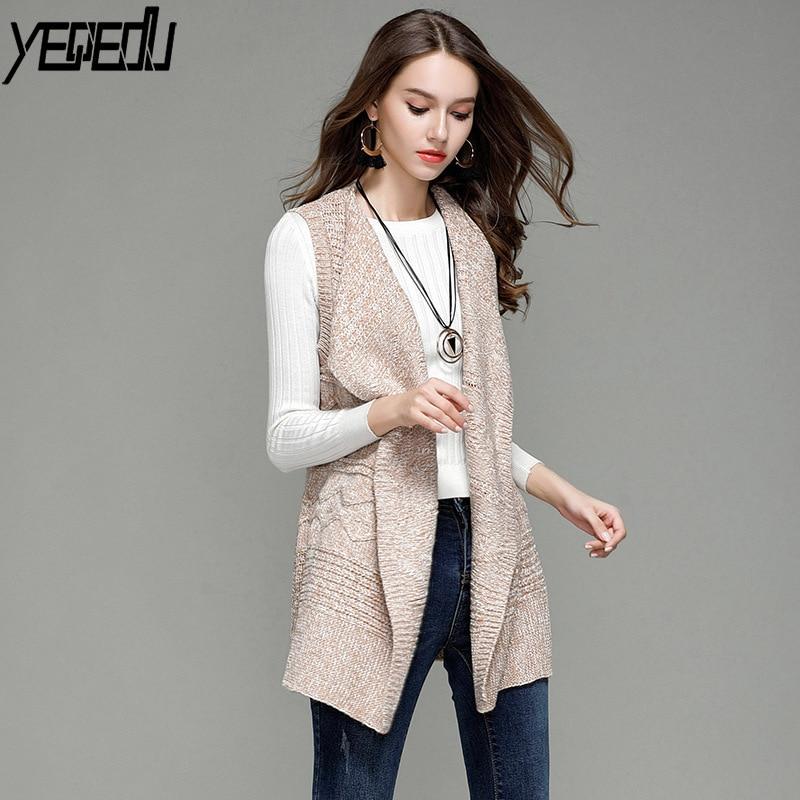 #0729 Long Kimono Vest Femme Lapel Collar Knitted Cardigan Sleeveless Coat Waistcoat Women Adjustable Waist Cardigan Ladies