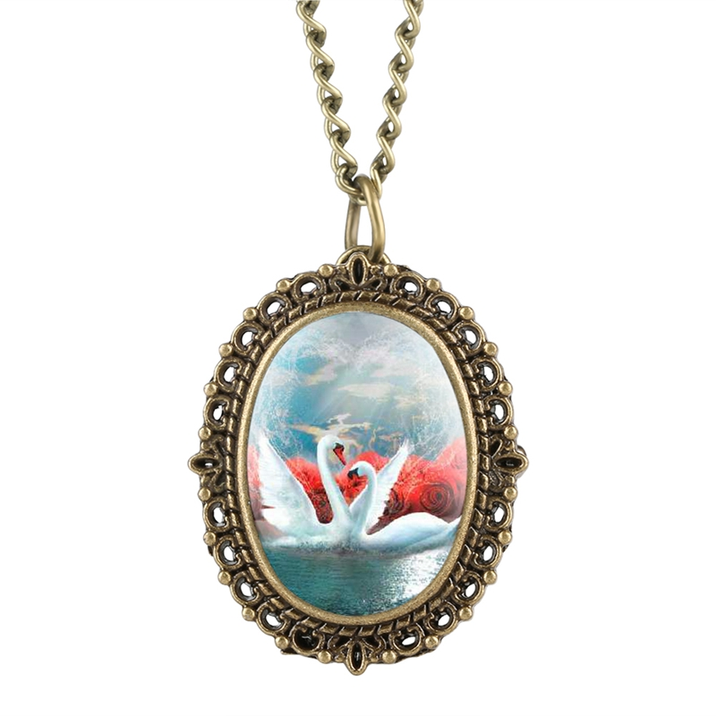 Retro Necklace Sweater Oval Double Swans Display Quartz Pocket Watch New Fashion Chain Pendant Clock Timepiece Gift Collectibles