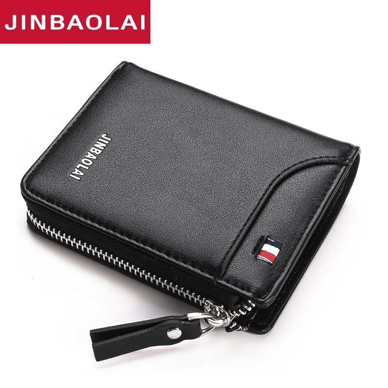 High Quality Wallet Card Holder Men Wallets Zipper Coin Pocket Sample Solid Men Leather Wallet Card Holder Male Purse Cartera slim linen cloth male clutch wallet overwatch men wallets mini coin pocket purse thin card holder short bag bolsa cartera hombre