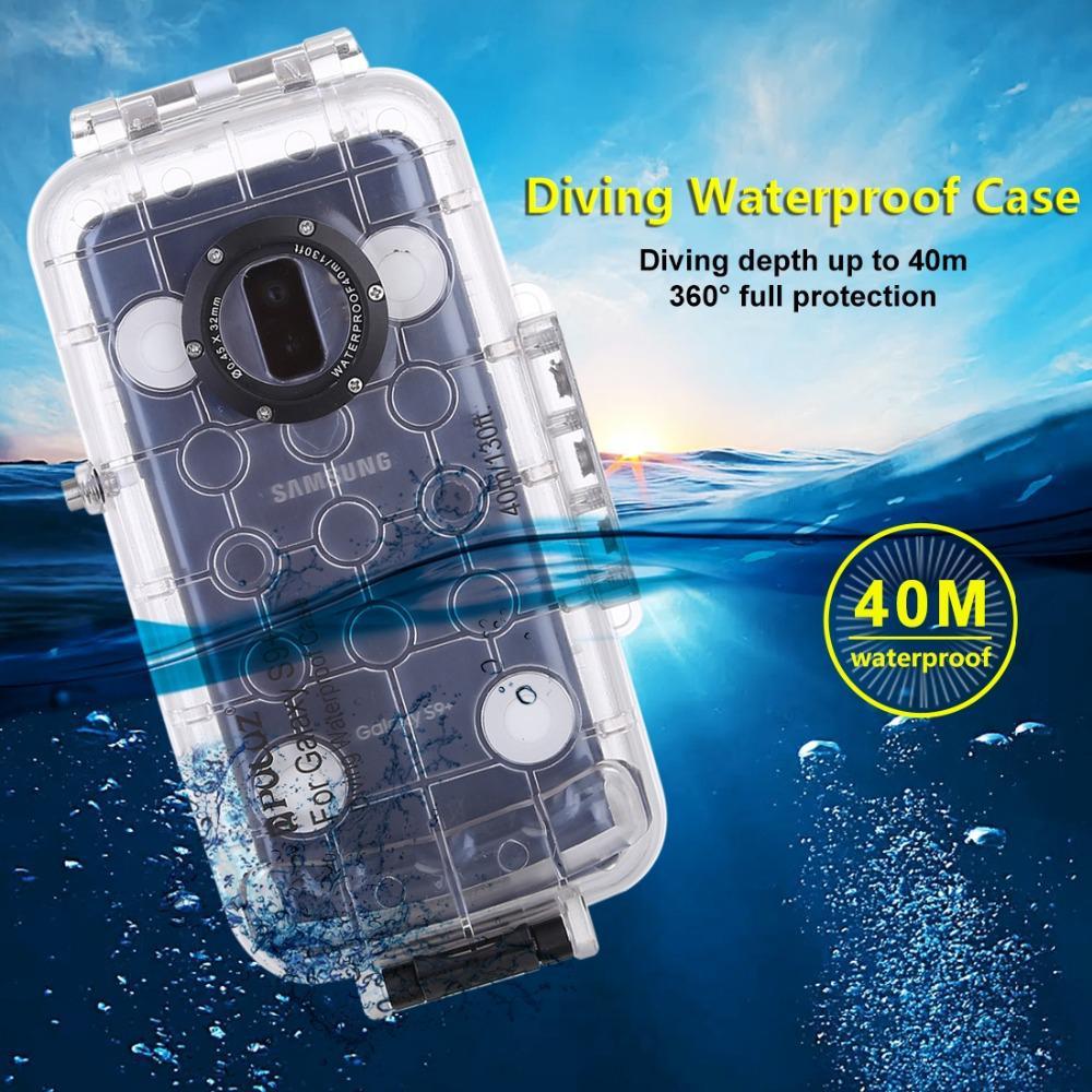 DSstyles PULUZ 40 m/130ft Étanche Étui Ajusté Plongée Logement Couverture Sous-Marine étui pour samsung Galaxy S9 S9 Plus