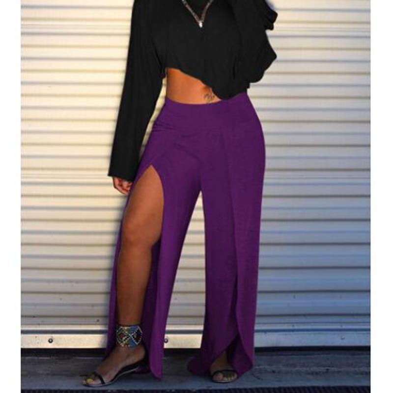 High slit   wide     leg     pants   women Sexy one split   leg   long trousers Casua loose high waist   pants   pantalones mujer summer 2019