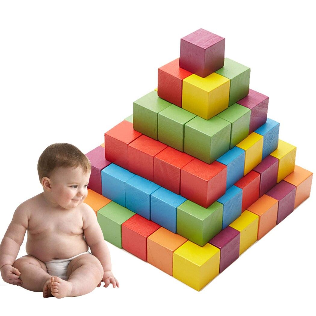 100 Pcs Holz Cube Pädagogisches Puzzle Holz Block Frühen Lehre Spielzeug Für Diy Online Shop