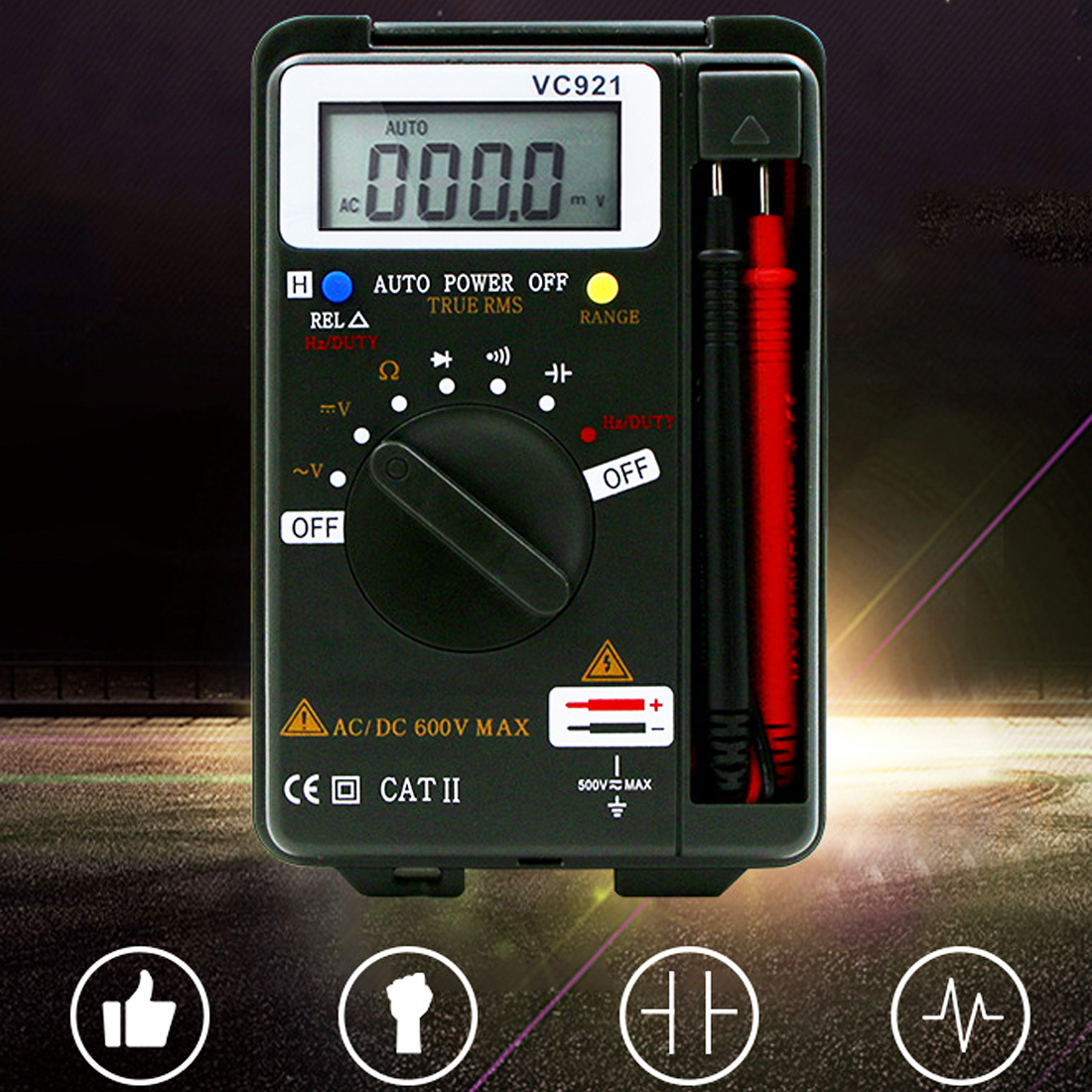 hot Handheld Pocket Digital Multimeter VC 921 DMM Integrated Personal Mini