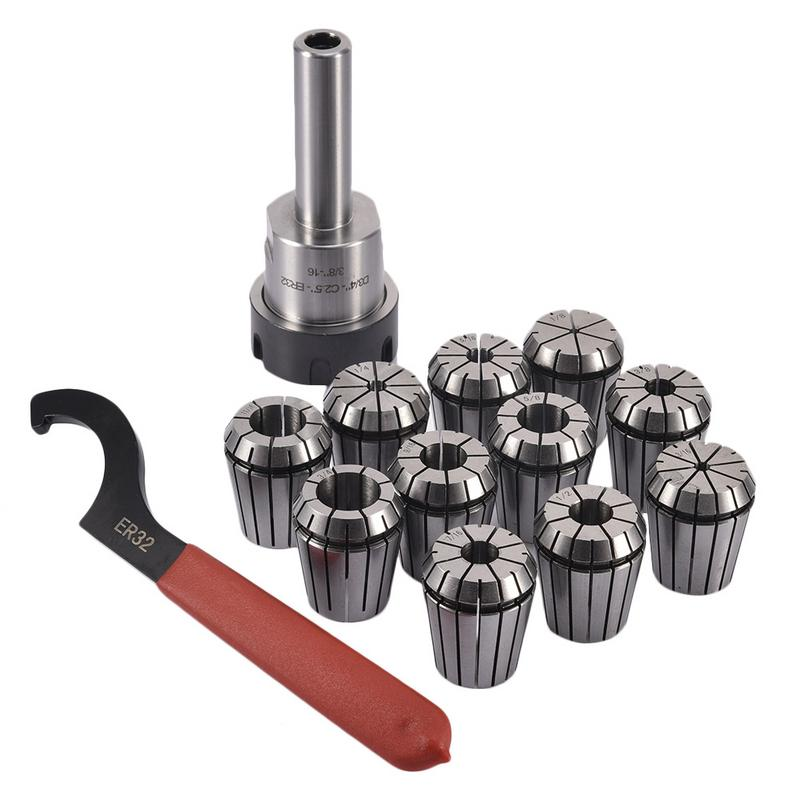 3/4 Straight Shank ER32 Chuck With 11 PC Collets Set Morse Taper Holder For CNC Milling Lathe Tool3/4 Straight Shank ER32 Chuck With 11 PC Collets Set Morse Taper Holder For CNC Milling Lathe Tool
