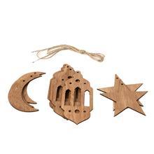 2019 Eid Ramadan Mubarak Hollow Wooden Decorations Home Hanging Moon Lantern Star Crafts Pedant With