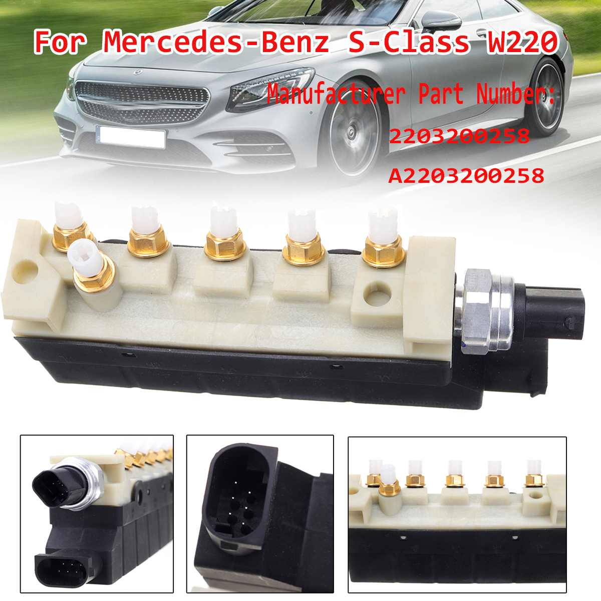 Air Suspension Compressor Valve Block For Mercedes <font><b>Benz</b></font> S Class <font><b>W220</b></font> 2203200258 S350 S430 <font><b>S500</b></font> S600 S55 S65 for AMG 2000-2006 image