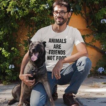 Pet Lover Animals Are Friends Not Food T Shirt Men's Animal Tee Funny Slogan Graphic Vintage Tops Amisetas Tumblr Vegan T Shirt