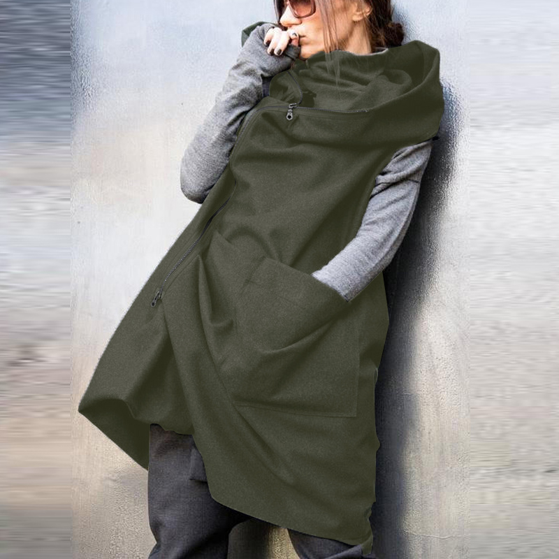Women's Vest ZANZEA Womens Overcoat Zipper Sleeveless Pockets Hooded Coat Chalecos Para Mujer Thicken Hoddies Oversize Waistcoat