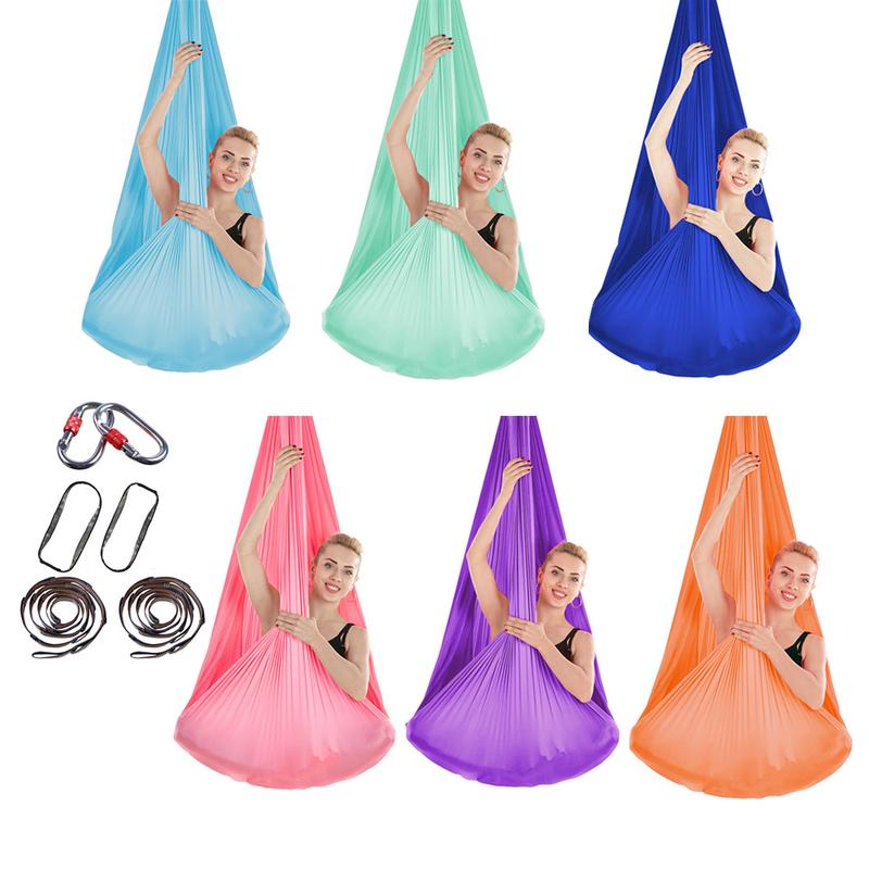 Stretchy Aerial Hammock With Extended Carabiner Indoor Silk Anti Yoga Gravity Yoga Set Elastic Swing Latest Belts For Training Spor