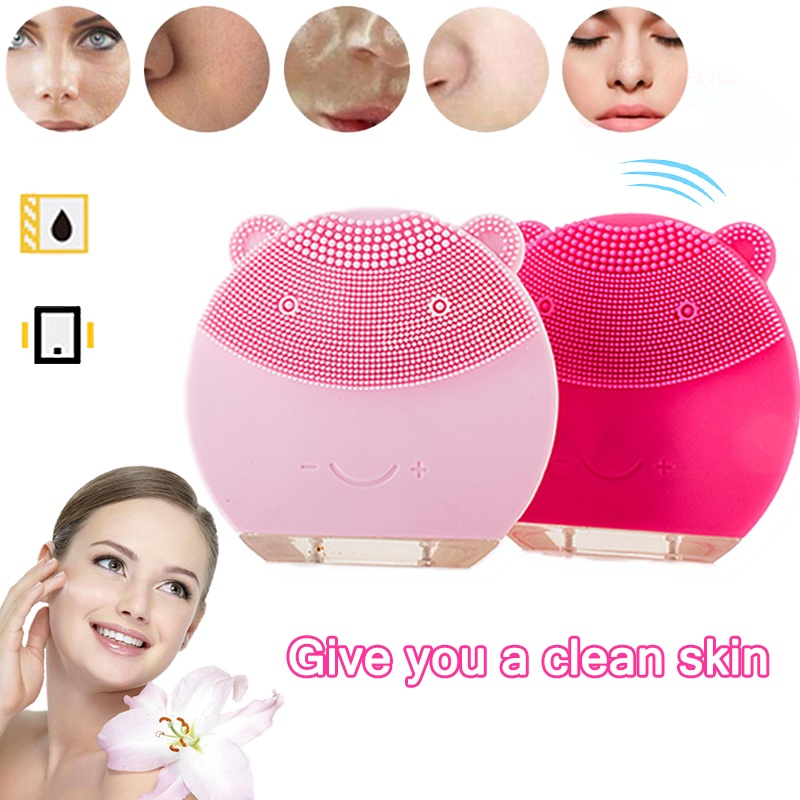 Mini Electric Facial Cleansing Massage Brush Waterproof Silicone Face Cleanser Dirt Remover Facial Cleansing Brush Foreoing