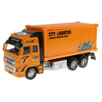 1:18 Scale Diecast Container Truck Construction Vehicle Car Model Toy image