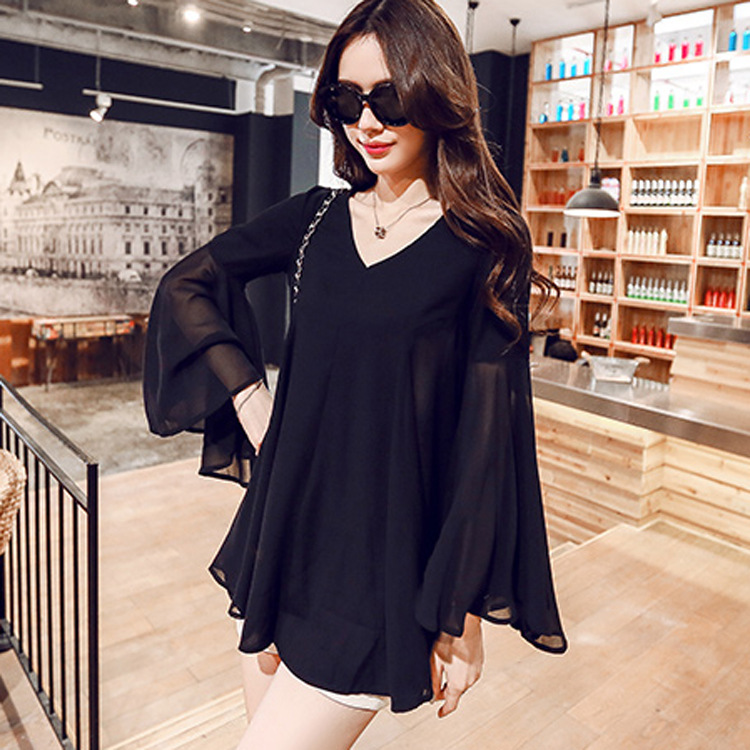 2019 New Summer Women Chiffon Tops & Blouse Girls Long Sleeve Shirt & Tops Feminine Fat Loose Tops Plus Size 5XL(China)