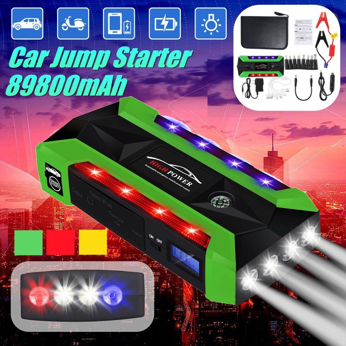 89800 mAh multi-fonction de démarrage de batterie de voiture de secours démarrage cavalier meilleur démarreur de saut de voiture chargeur de voiture Portable haute puissance