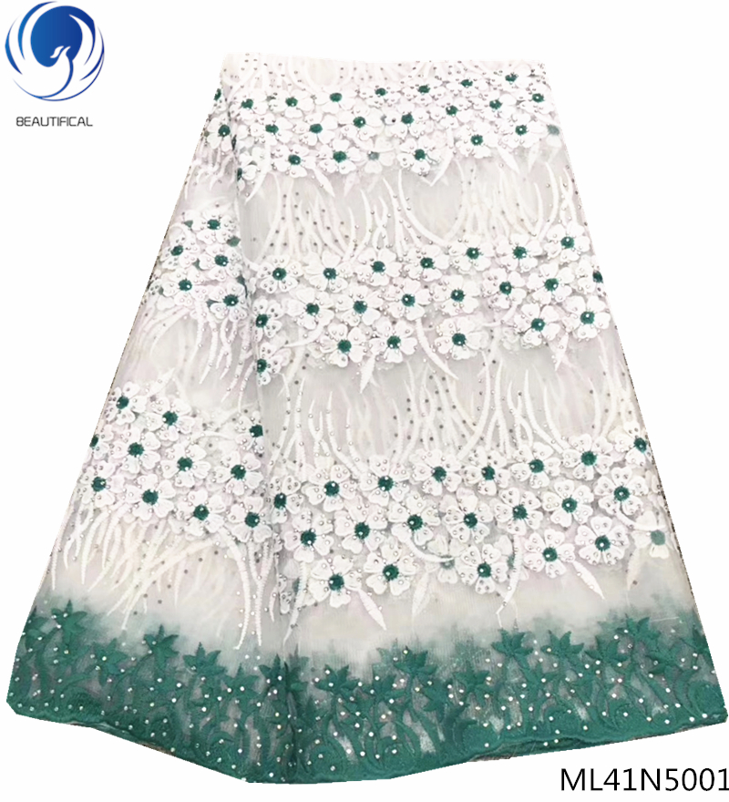 BEAUTIFICAL lace embroidery fabric laces african lace fabric green color with lots rhinestones net lace fabric 5yards ML41N50BEAUTIFICAL lace embroidery fabric laces african lace fabric green color with lots rhinestones net lace fabric 5yards ML41N50