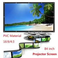 Rolled Up 84/100 Inch Projector Screen 16:9 HD Portable Home Cinema Outdoor Projection LED Projector Screen For Home Theater