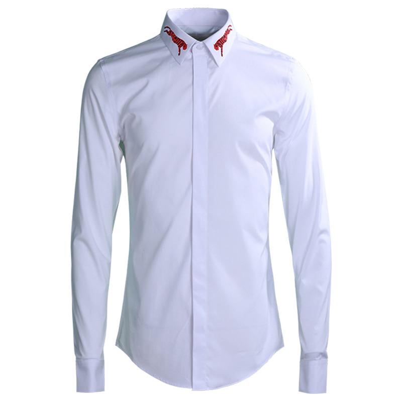 Schlussverkauf Marke Business Männlichen Kleid Hemd 2019 Mode Schlank Casual Männer Shirts Drehen-unten Kragen Langarm Solide Camisas Plus Größe M-4xl Fortgeschrittene Technologie üBernehmen Hemden Hemden