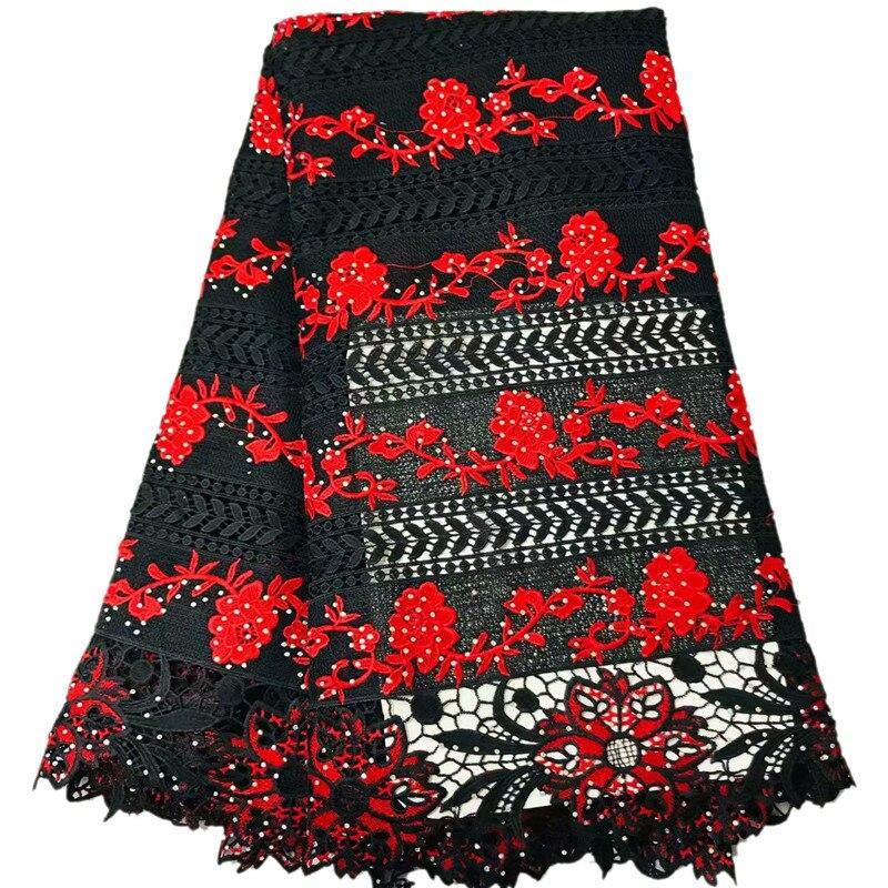 أحدث كبيرة الأحمر زهرة فاينز نمط تصميم بالحجارة اللون الأسود الحبل الدانتيل 2W94 كبيرة جودة المياه للذوبان الدانتيل النسيج-في دانتيل من المنزل والحديقة على  مجموعة 1