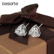 6 пар в партии золотые серьги гвоздики с кристаллами форме сердца