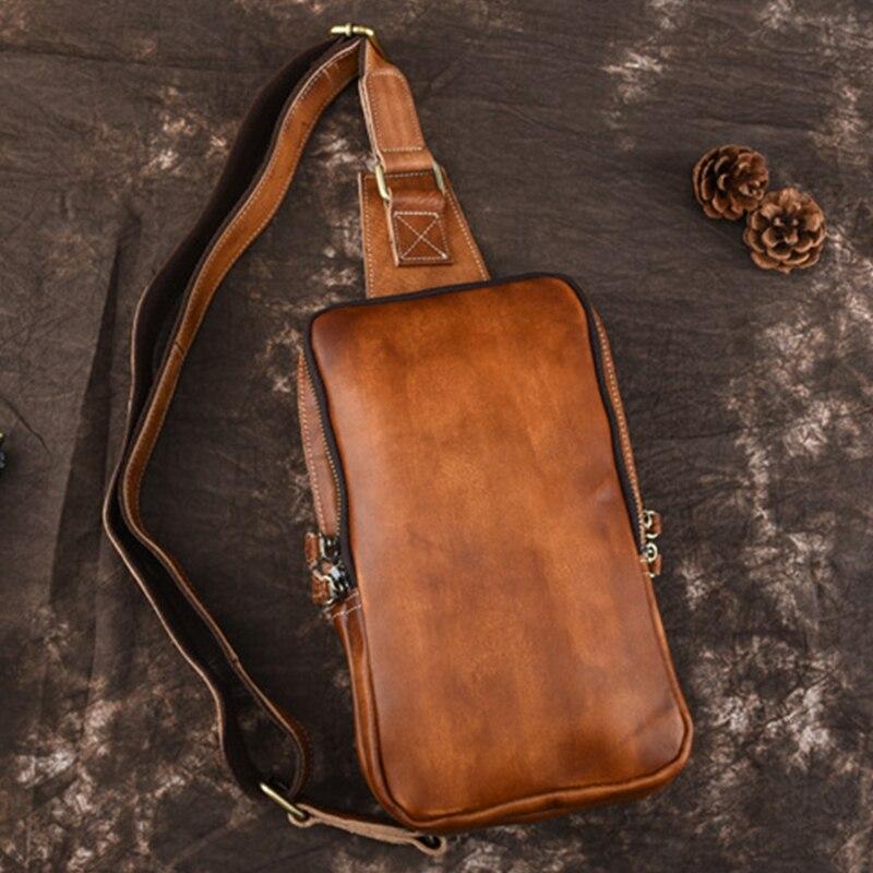 High Quality Male Genuine Tanned Leather Sling Backpack Rucksack Vintage Natural Skin Shoulder Bag Men Crossbody