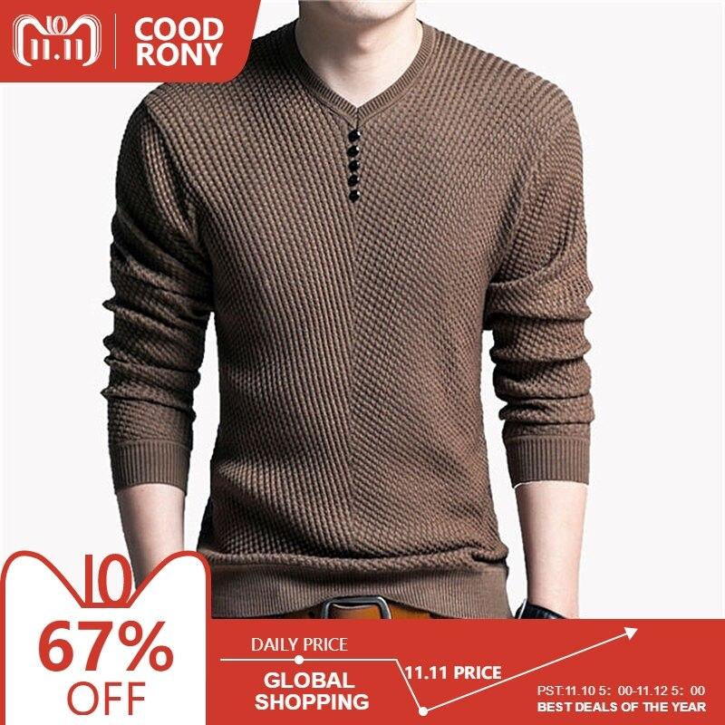 COODRONY Pullover Männer Casual V-ausschnitt Pullover Männer Herbst Slim Fit Langarm Shirt Herren Pullover Gestrickte Kaschmir Wolle Pull Homme