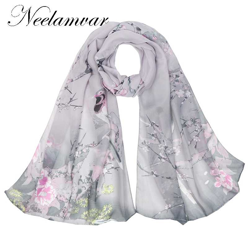 312a29471c098 Neelamvar fashion women's scarf flower bird print chiffon silk scarves thin  long shawls autumn and winter
