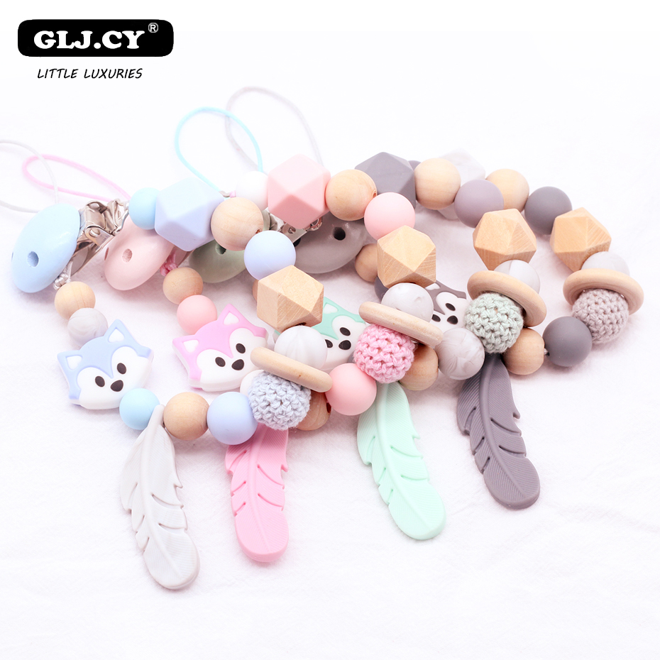 Silicone Pacifier Clip Wooden Beads Dummy Clip Cute Husky Feather Pacifier Clip Pacifier Chain Baby Teeth Toy Baby Chew