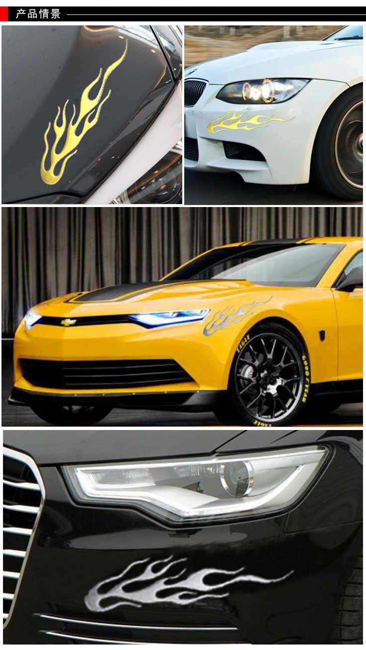 PVC Lembut 4 Warna Membantu Mobil Pribadi Motor 3D Api Api Reflektif Stiker Vinil Stiker