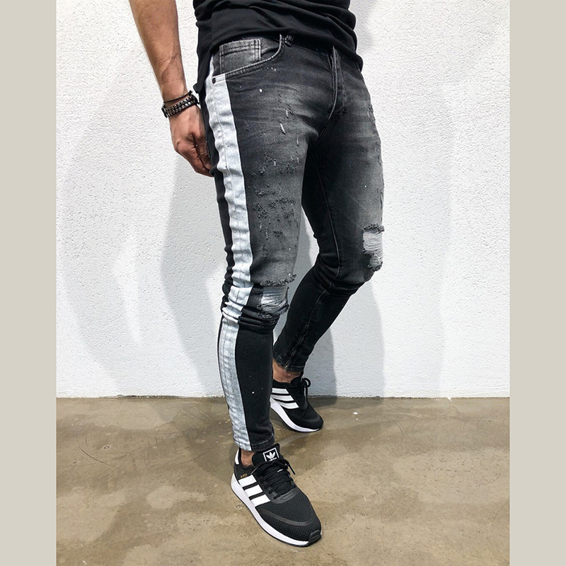 Men Denim Ripped Hole   Jeans   Side Striped Line   Jeans   Fashion Hip Hop Skinny Pencil   Jeans   For Men Stretch Patchwork Black   Jeans