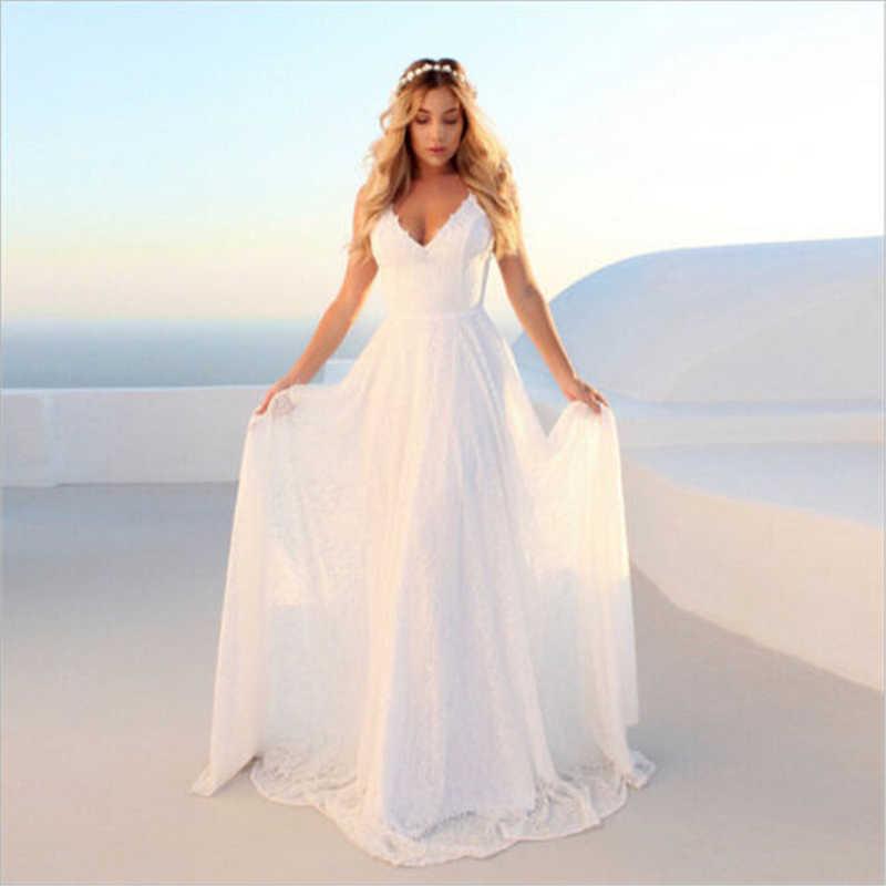 840a0e7d9e9f2 Women Formal Wedding Bridesmaid Long Dress Sleeveless Lace V Neck ...