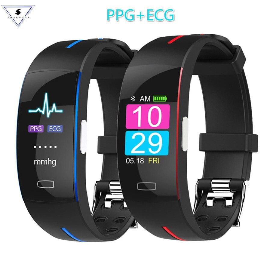 Pulseira inteligente P3 cor H66 Pressão Arterial Smartband Activit Ppg Ecg Monitor de Freqüência Cardíaca de Fitness Rastreador Inteligente Pulseira