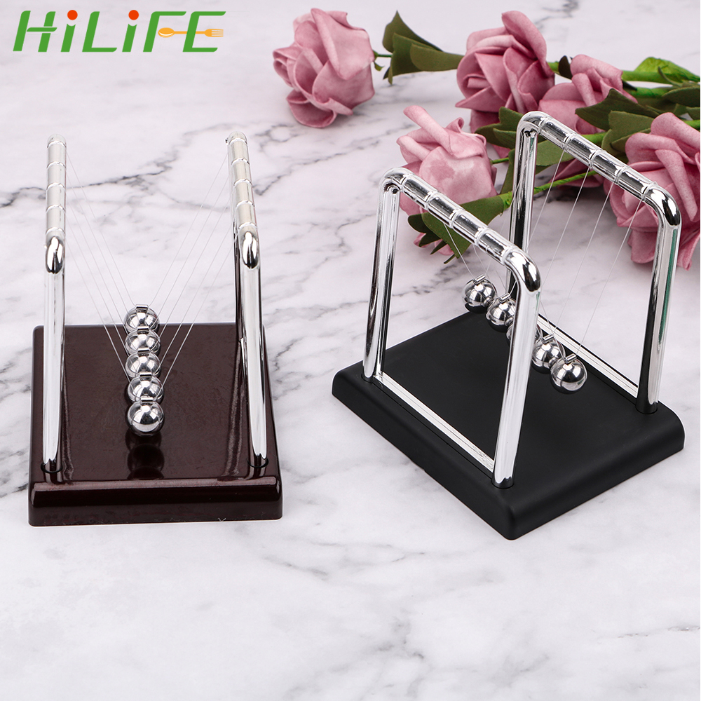 HILIFE Newton's Cradle Physics Science Pendulum Desk Table Decor Steel Balance Ball Metal Pendulum Ball Newton Ball